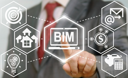 BIM building information modeling business industrial development physical web concept. Build, house, real estate, construction, architecture technology